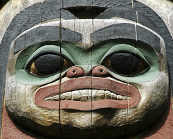wooden totem face