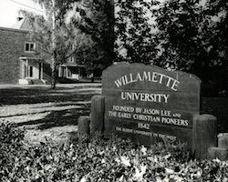 Baxter Hall and Willamette University sign